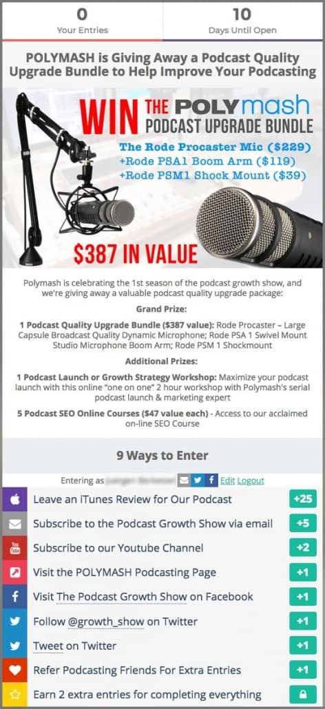 Podcast Launch Contest Example